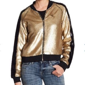BLANKNYC Sequin Two Tone Bomber Jacket Size Medium